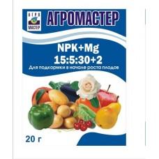 Удобрение АгроМастер (15-5-30)+2 20гр (50шт) АгроМ